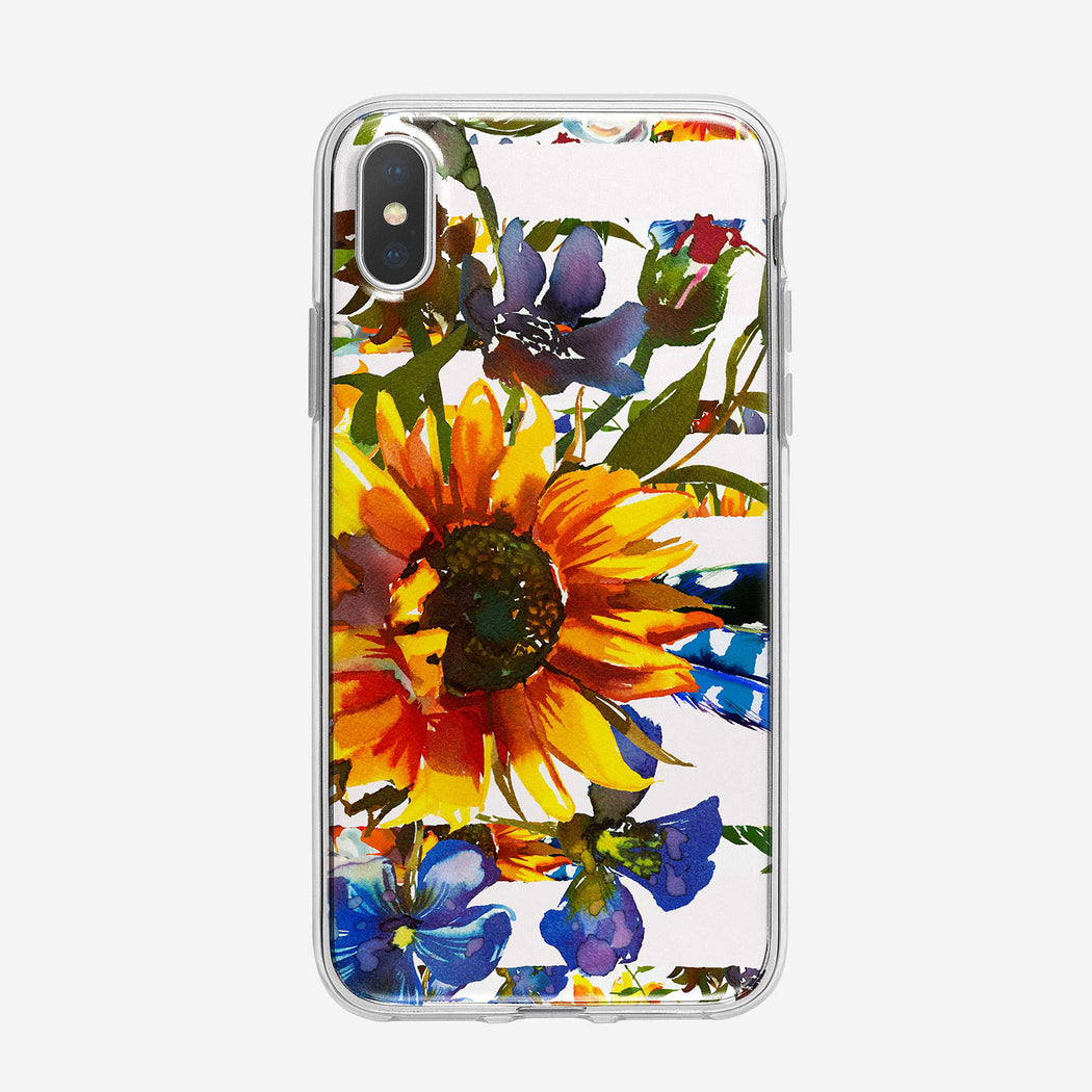 Pretty Sunflower Design Clear iPhone Case From Tiny Quail