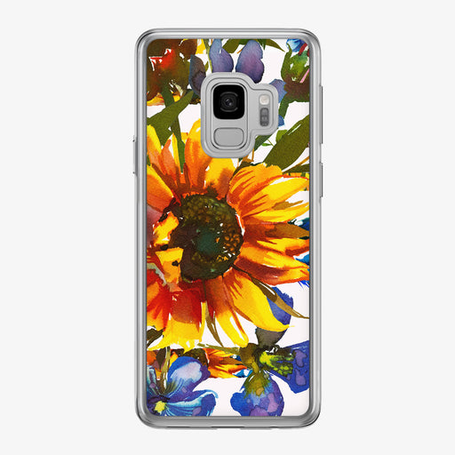 Sunflower Boho on White Samsung Galaxy Phone Case from Tiny Quail