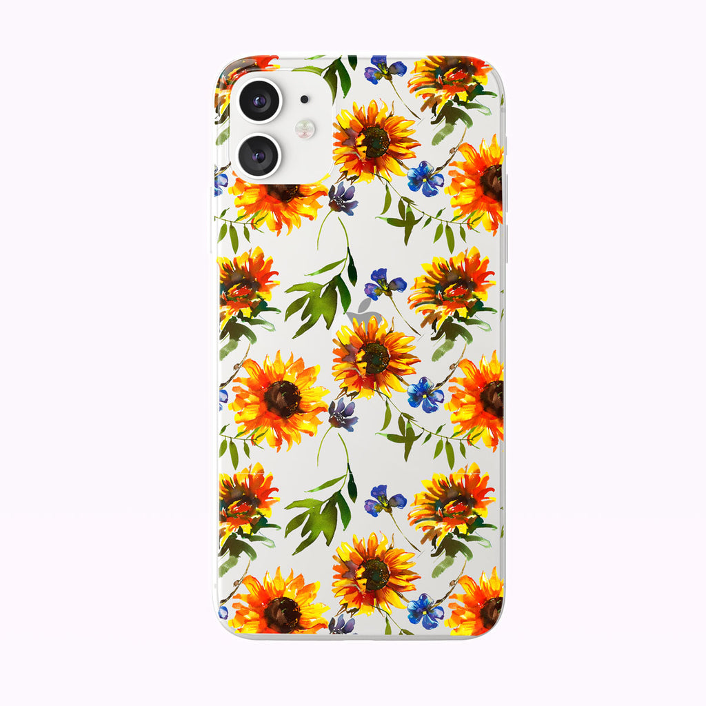 Bright and Colorful Sunflower Pattern Clear iPhone Case from Tiny Quail
