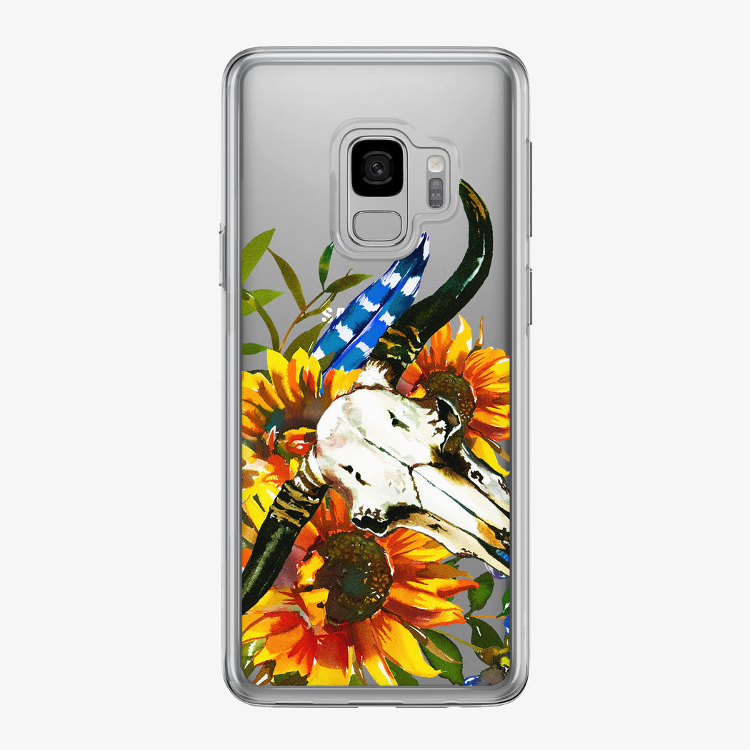 Sunflower Boho Bouquet Skull Samsung Galaxy Phone Case from Tiny Quail