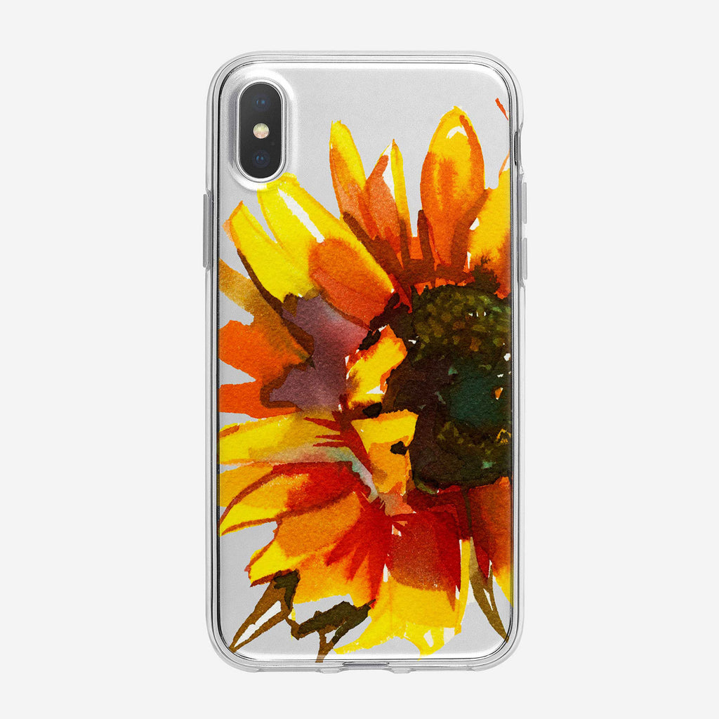 Colorful Sunny Sunflower Clear iPhone Case From Tiny Quail