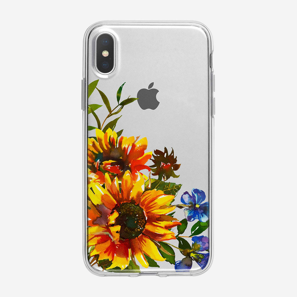 Vibrant Sunflower Bouquet Clear iPhone Case From Tiny Quail