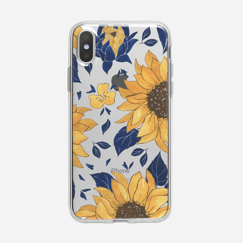 Illustrated Sunflower Pattern Clear iPhone Case from Tiny Quail
