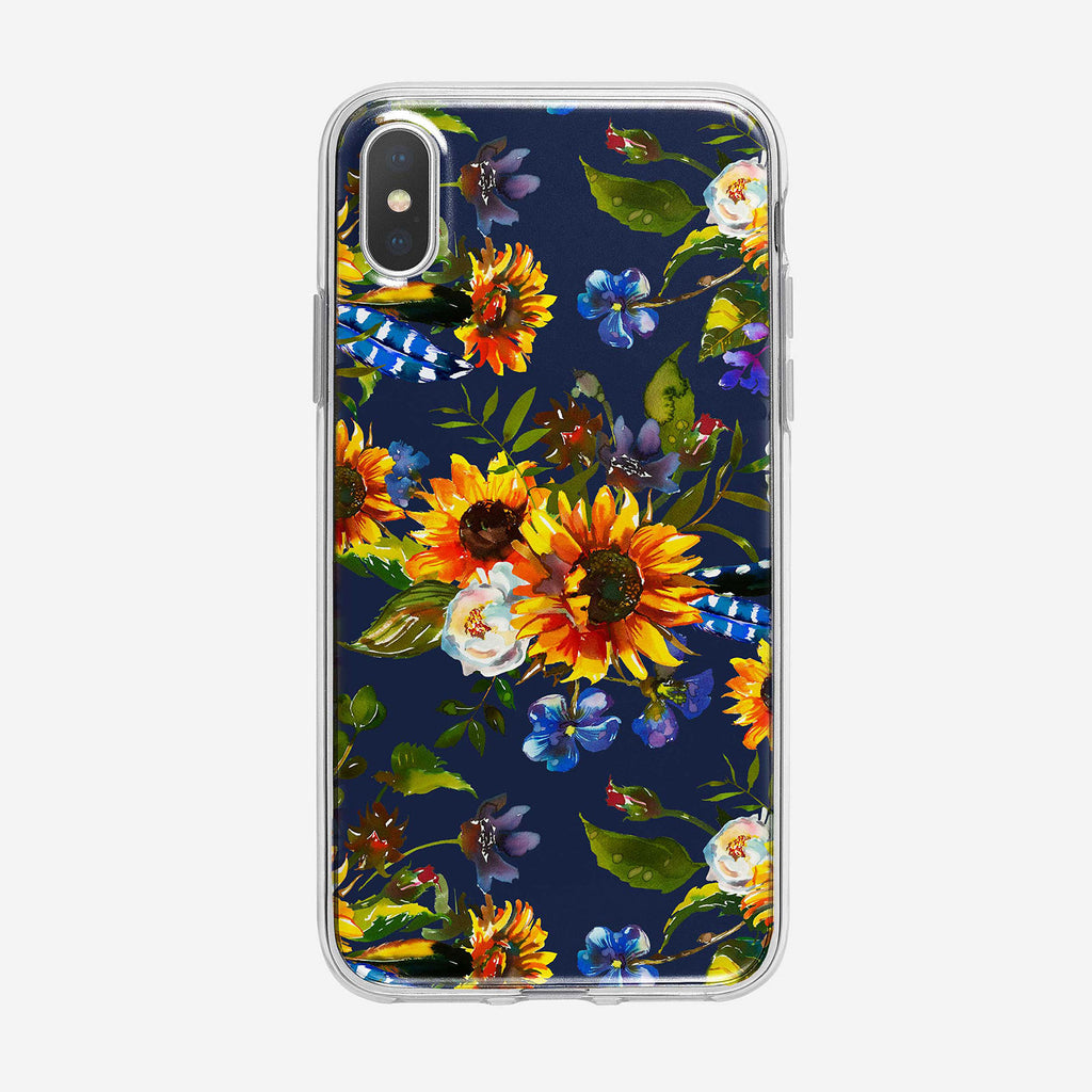 Pretty Sunflower Pattern on Blue iPhone Case From Tiny Quail