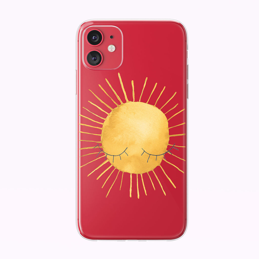 Cute Illustrated Summer Sun With Eyes Clear iPhone Case from Tiny Quail