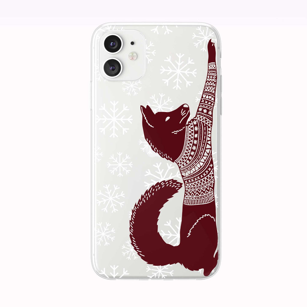 Stretching Fox With Sweater iPhone Case from Tiny Quail