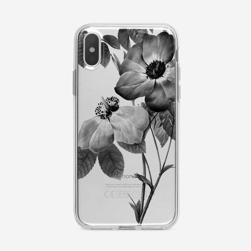 Black and White Tea Roses iPhone Case from Tiny Quail