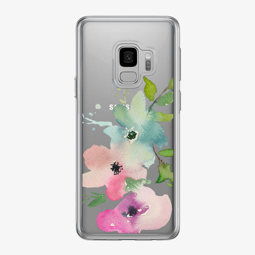Three Pastel Flowers Clear Samsung Galaxy Phone Case from Tiny Quail