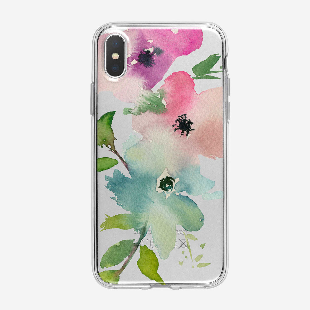 Three Pastel Flowers Clear iPhone Case From Tiny Quail