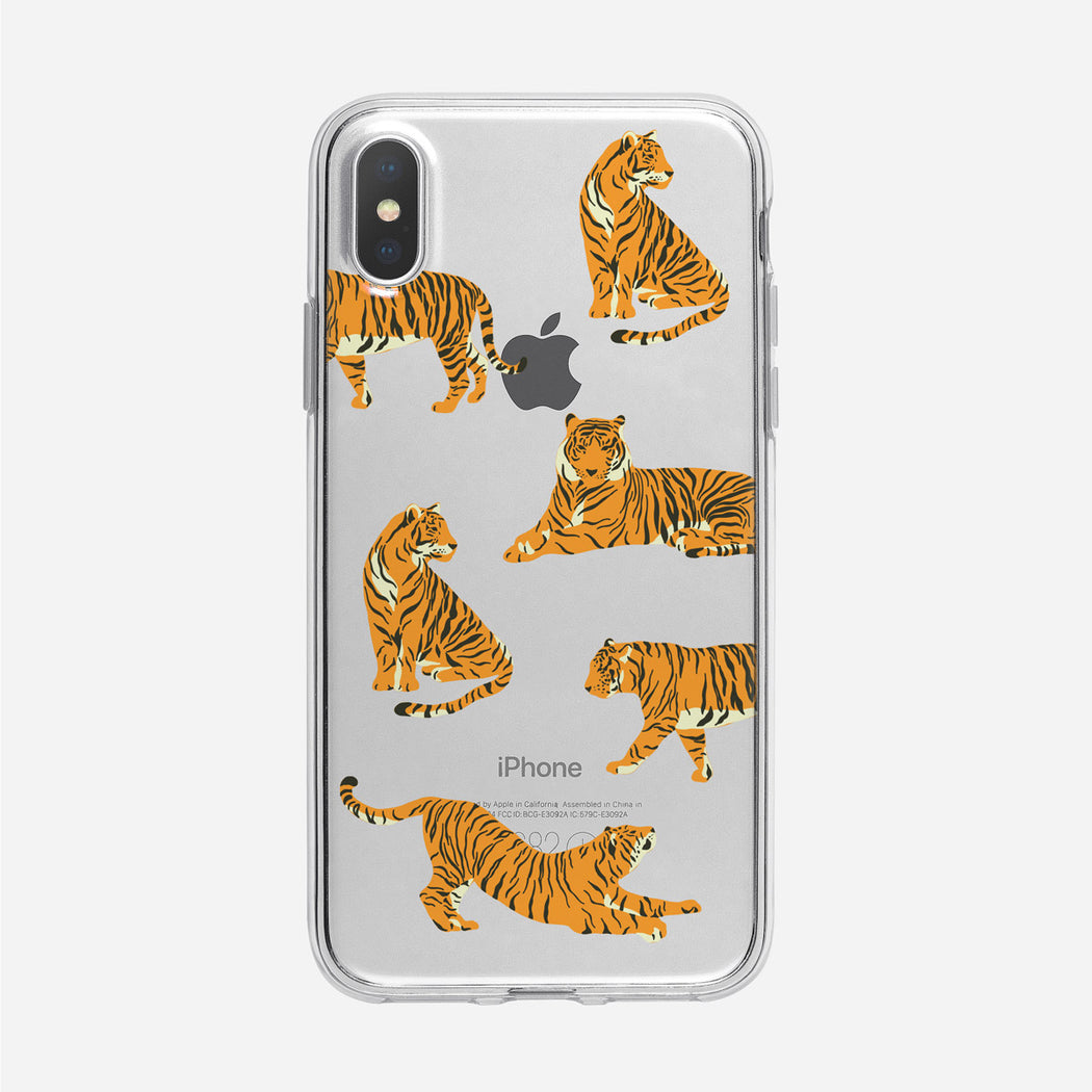 Fun Tiger Pattern Clear iPhone Case from Tiny Quail