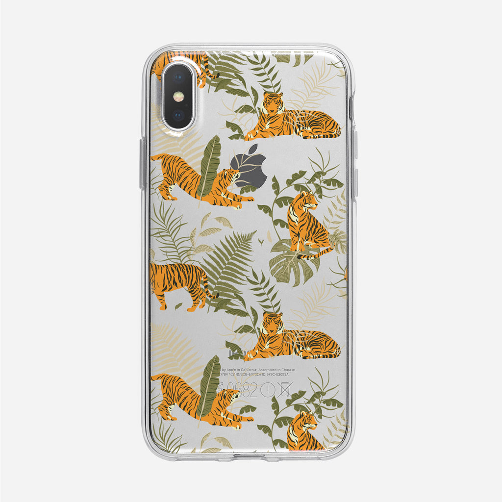 Tiger jungle Pattern Clear iPhone Case from Tiny Quail