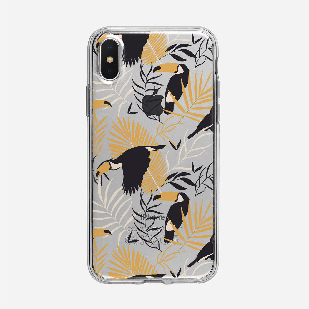 Subtle Tropical and Toucan Pattern Clear iPhone Case from Tiny Quail