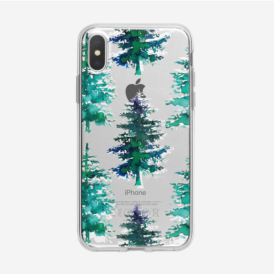 Winter Pine Tree Pattern iPhone Case from Tiny Quail