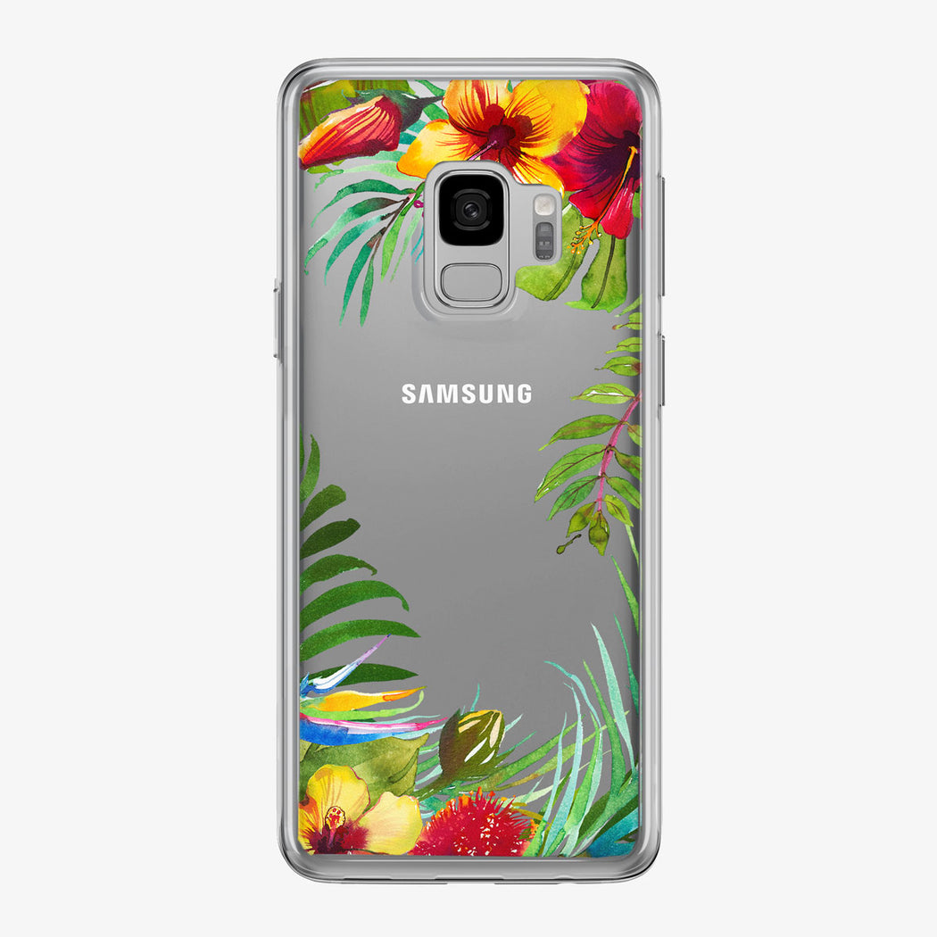 Tropical Flowers Frame Samsung Galaxy Phone Case from Tiny Quail