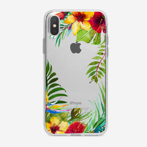 Tropical Flowers Frame Clear iPhone Case from Tiny Quail