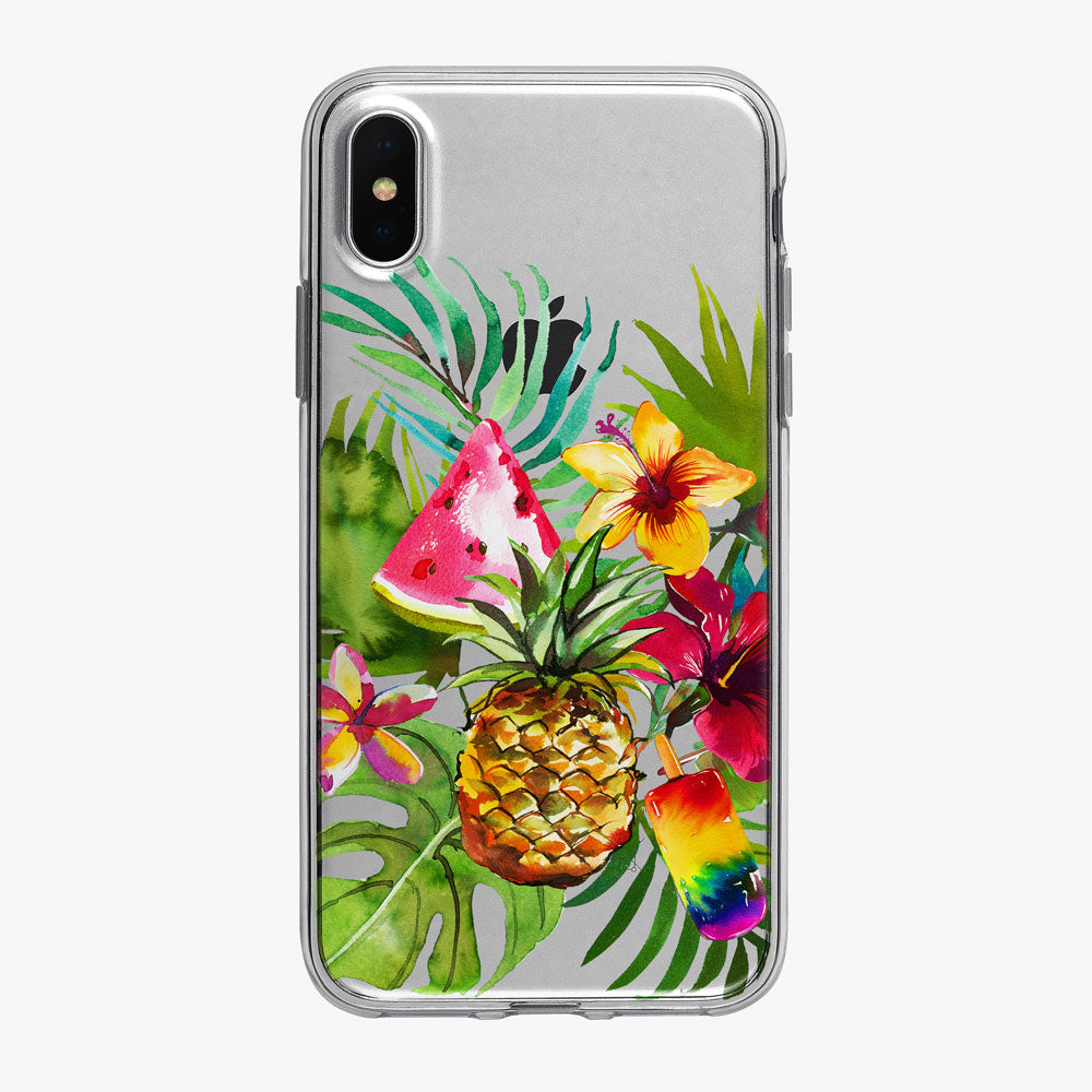 Tropical Fruit Bouquet Clear iPhone Case from Tiny Quail