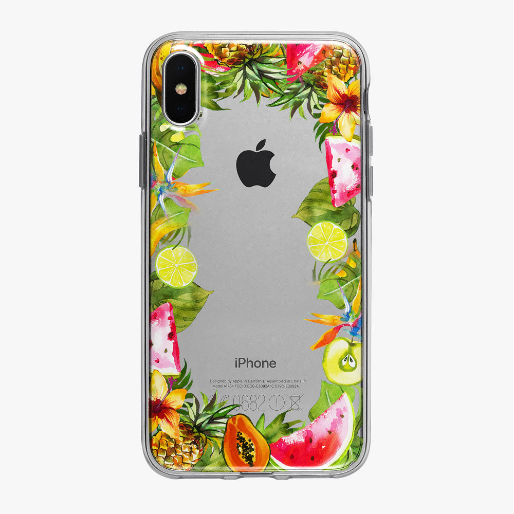 Tropical Fruit Frame Clear iPhone Case from Tiny Quail