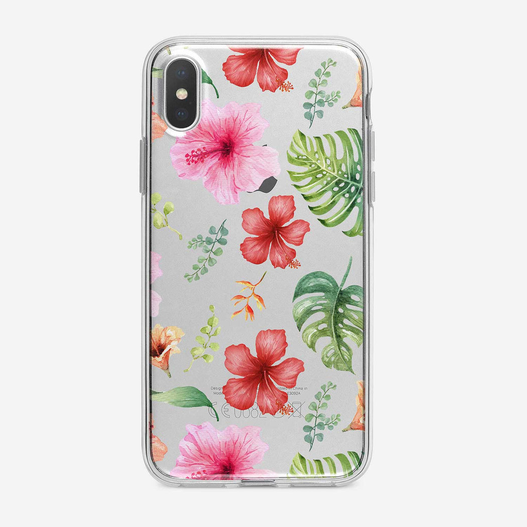 Watercolor Tropical Flowers Clear iPhone Case by Tiny Quail