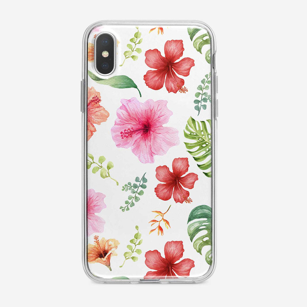 Watercolor Tropical Flowers on White iPhone Case from Tiny Quail.