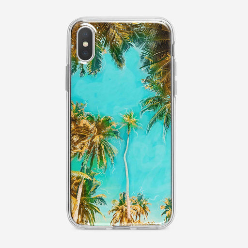 Bright Tropical Leaves and Sky iPhone Case by Tiny Quail