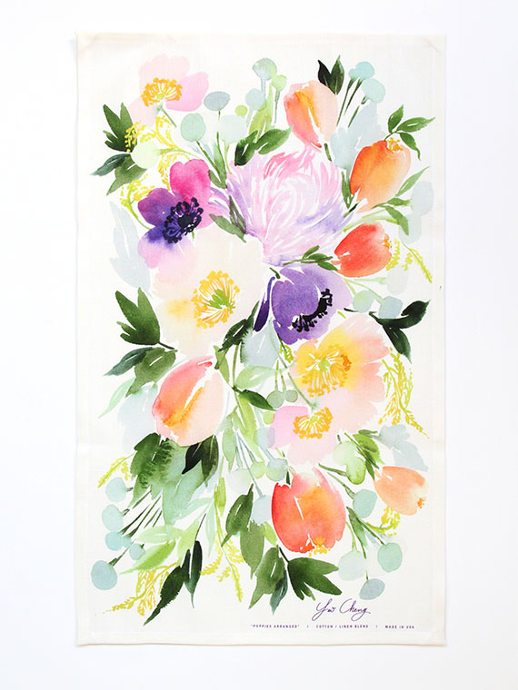 Poppies Arranged Watercolor Tea Towel - Yao Cheng Design