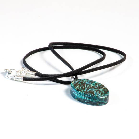 Blue/Teal Cateye Rolled Leather Tumbleweed Necklace by Tumblestone Jewelry
