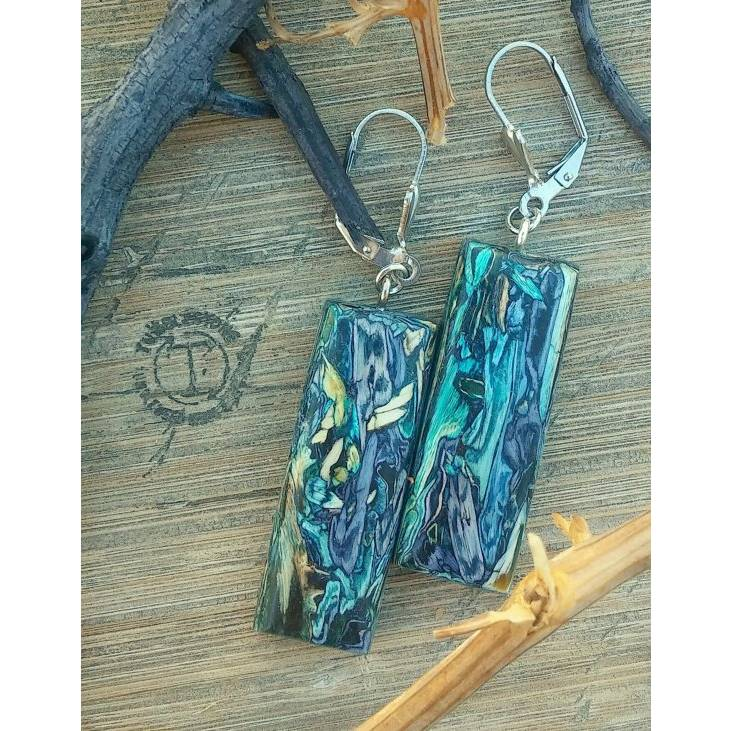 Blue Teal Rectangle Earrings Handcrafted by Tumblestone Jewelry
