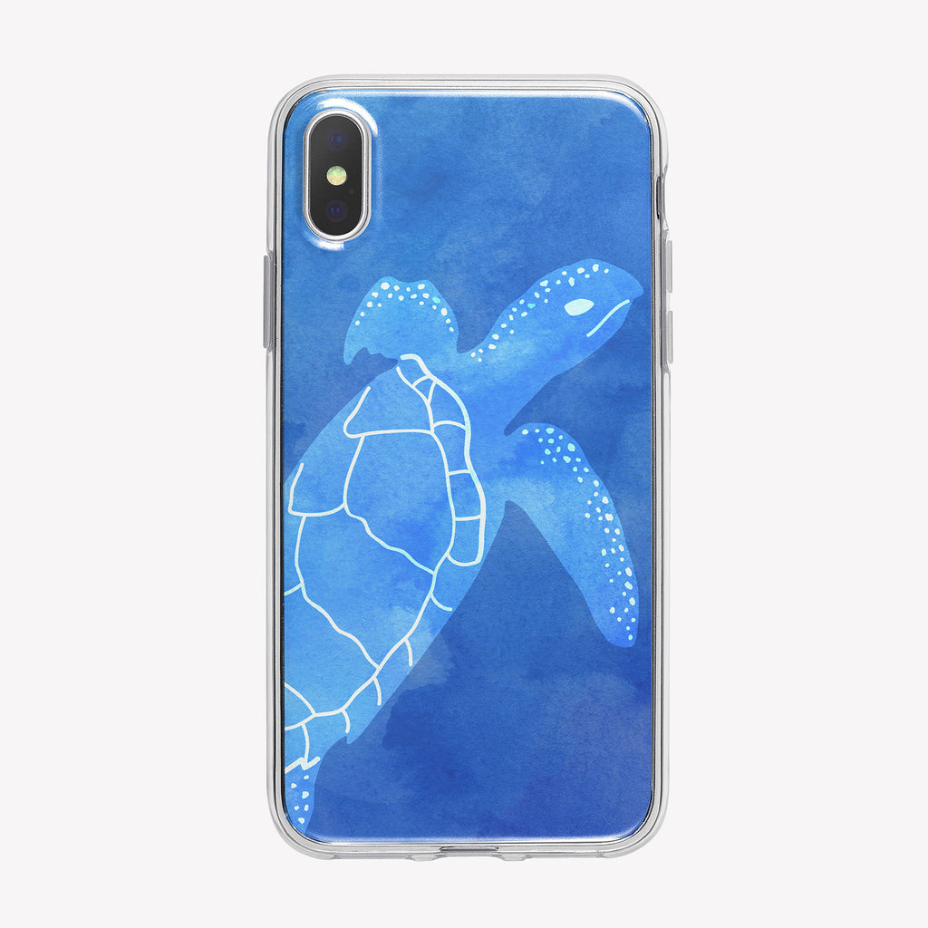 Blue Transparent Turtle iPhone Case from Tiny Quail