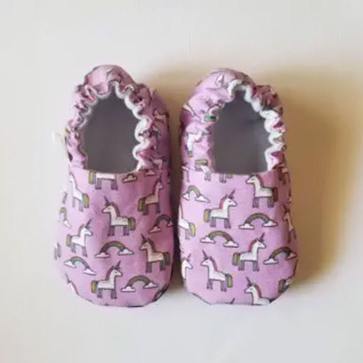 Pair of Organic Pink Unicorn Organic Baby Shoes Moccs from Weepereas