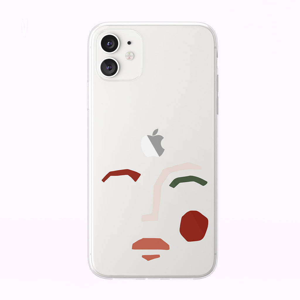 Cute Abstract Woman Face Clear iPhone Case from Tiny Quail