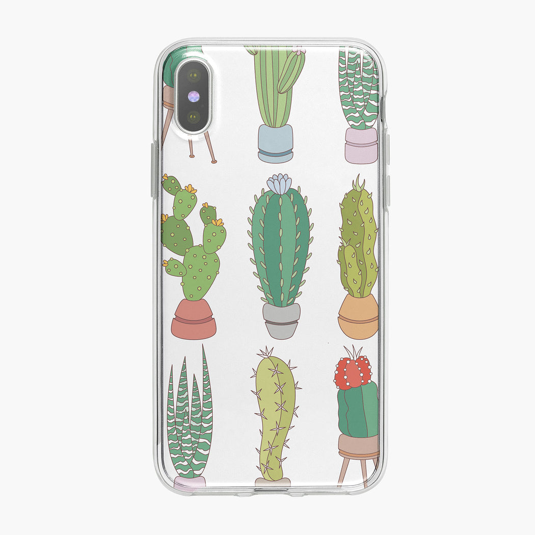 Colorful Large Cactus Pattern iPhone Case by Tiny Quail
