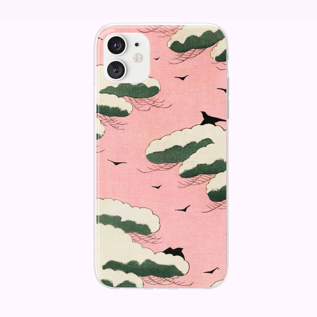 Pink Sky Vintage Pattern iPhone Case from Tiny Quail