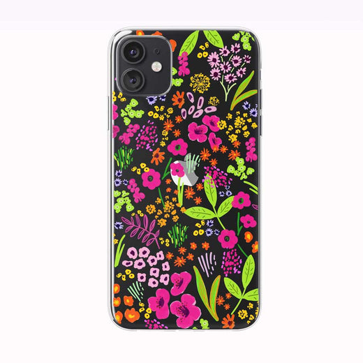 Vivid Hand Drawn Floral Pattern iPhone Case by Tiny Quail