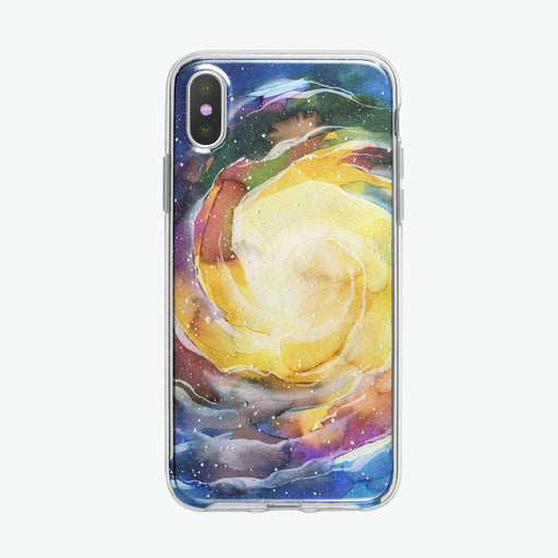 Yellow Space Vortex iPhone Case by Tiny Quail
