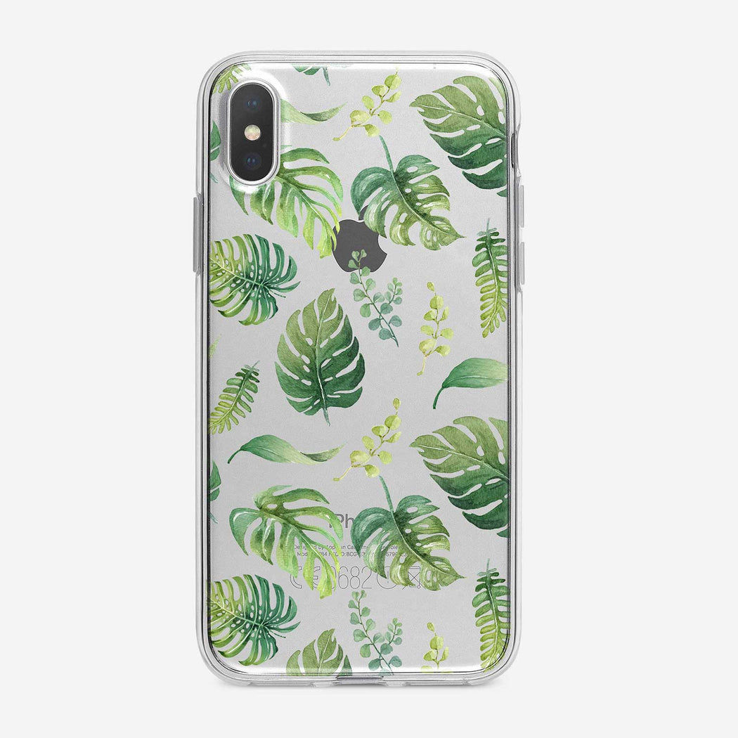 Watercolor Tropical Leaves clear iPhone case from Tiny Quail