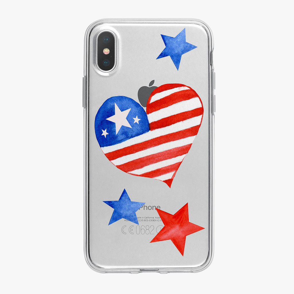 Patriotic Heart and Stars iPhone Case by Tiny Quail
