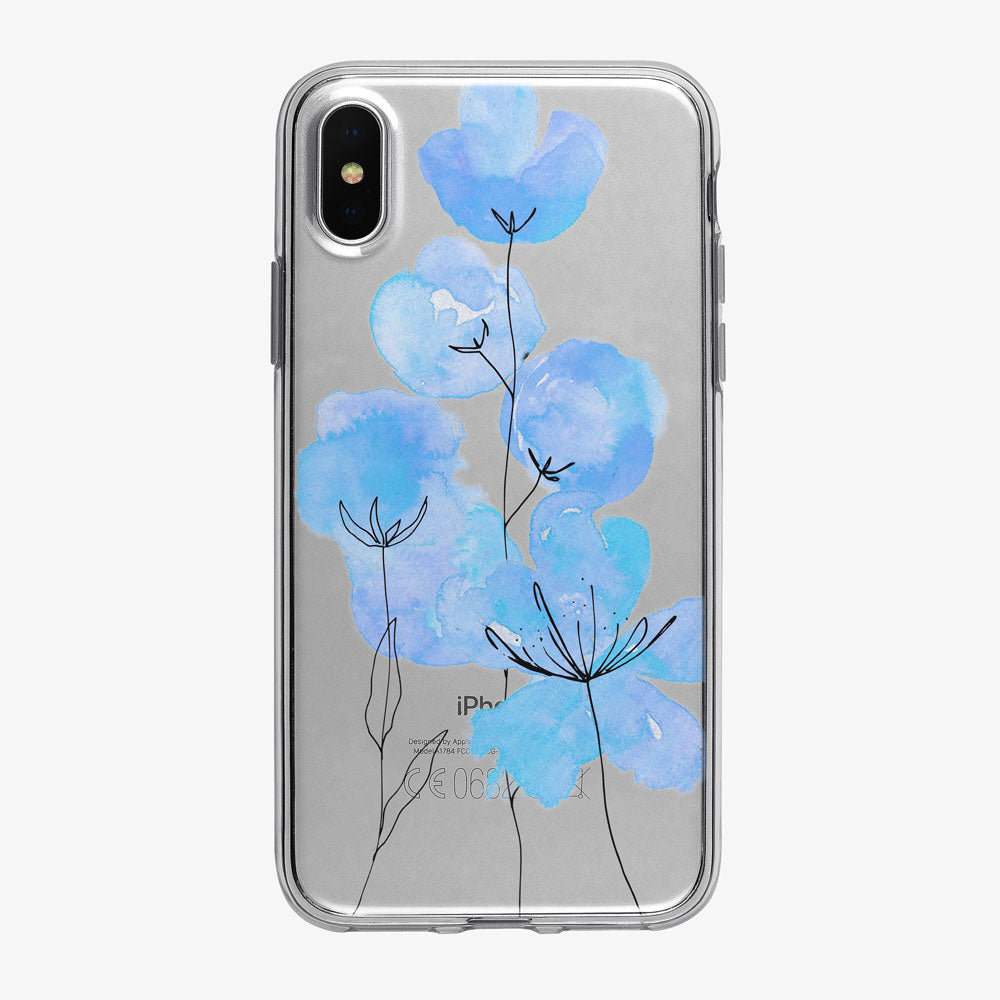 Blue Ink and Watercolor Flowers iPhone Case from Tiny Quail