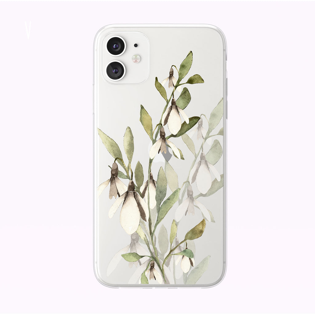 Simple Green and White Forest Flowers Clear iPhone Case from Tiny Quail