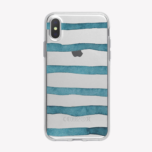 Watercolor Blue Stripes Clear iPhone Case from Tiny Quail