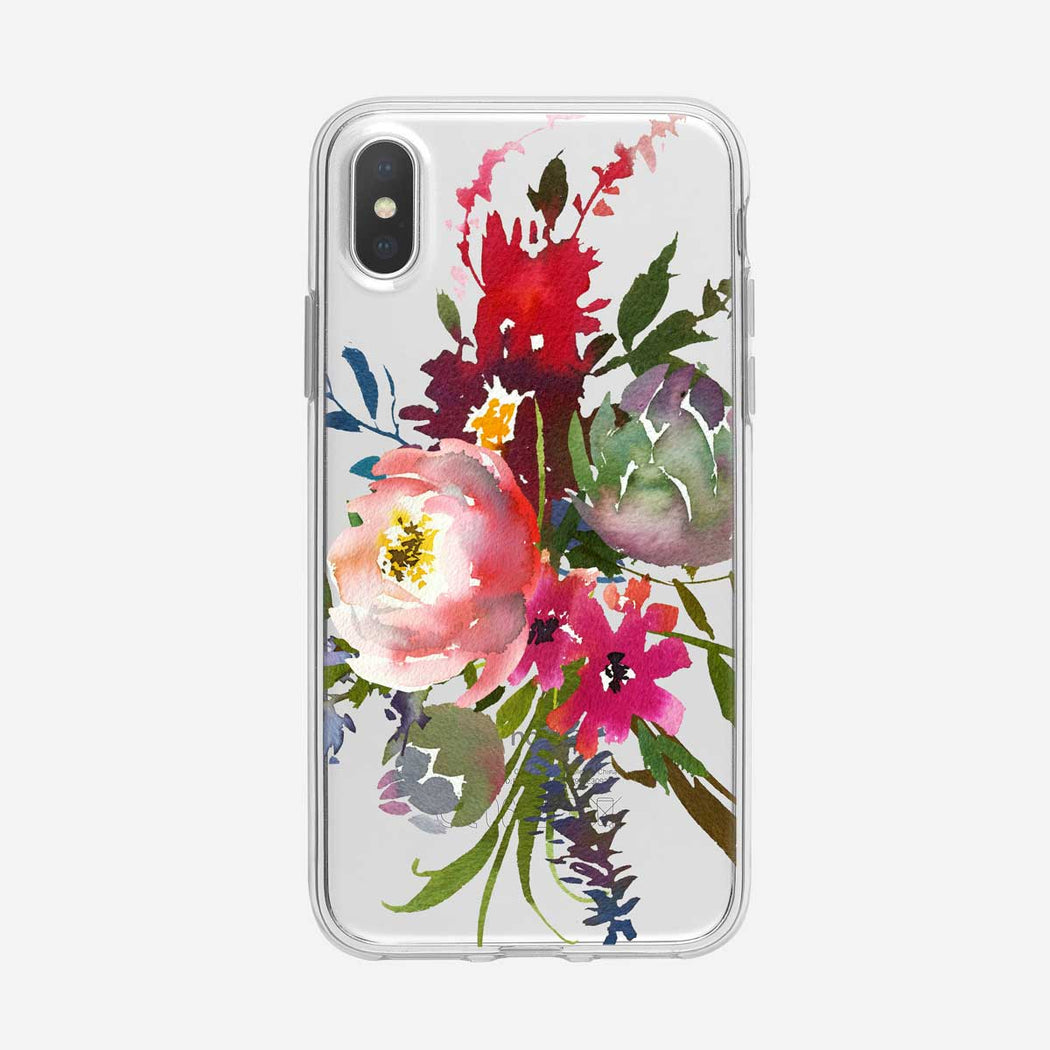 Watercolor Floral with Succulent Clear iPhone Case from Tiny Quail