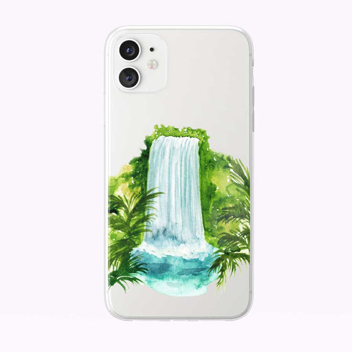 Tropical Waterfall and Leaves Clear iPhone Case from Tiny Quail