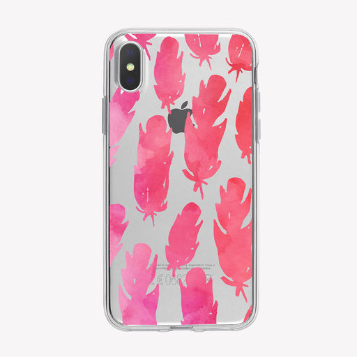 Watercolor Pink Feathers Pattern iPhone Case from Tiny Quail
