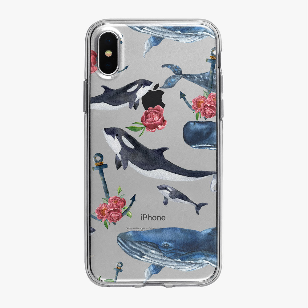 Whale Pattern Clear iPhone Case from Tiny Quail