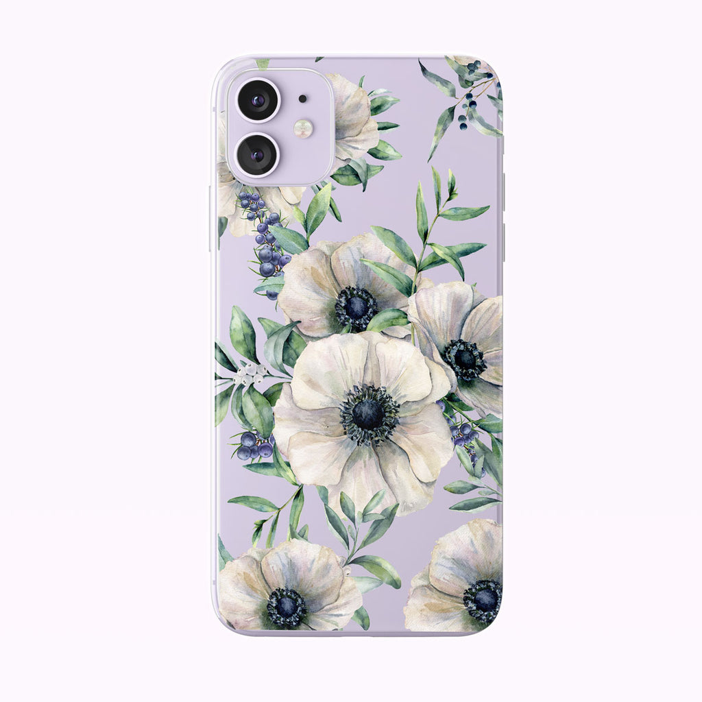 Summer White Anemones Clear iPhone Case from Tiny Quail shown on a purple iPhone 11 case