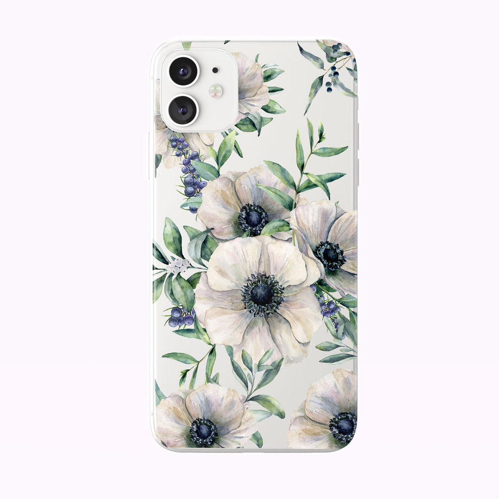 Summer White Anemones Clear iPhone Case from Tiny Quail shown on a white iPhone 11 case