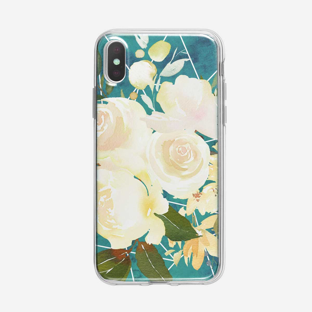 White Rose Poly Clear iPhone Case From Tiny Quail