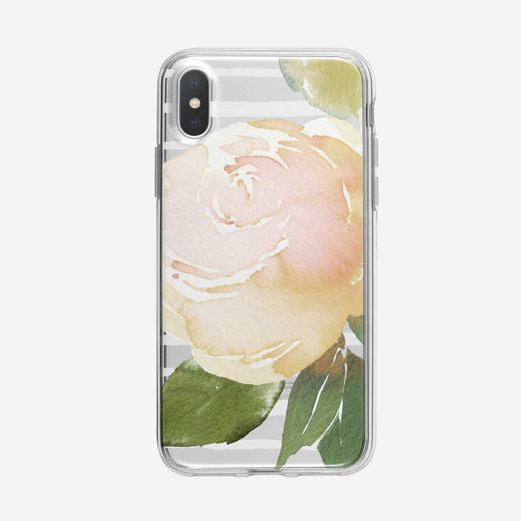 Striped Large White Rose Clear iPhone Case From Tiny Quail