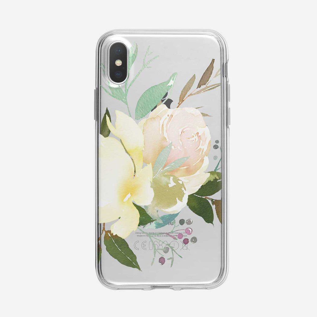 White Roses Clear iPhone Case From Tiny Quail