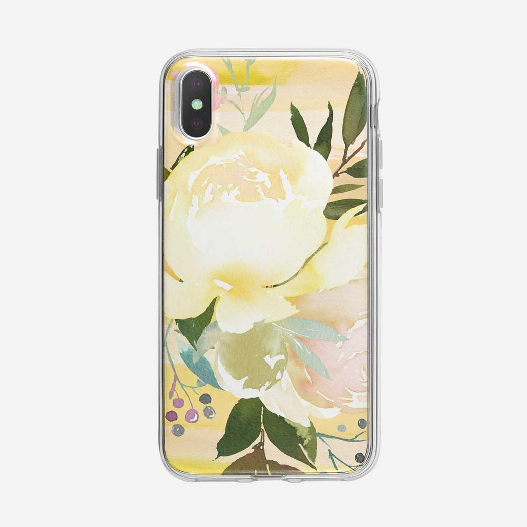 White Roses On Yellow iPhone Case From Tiny Quail