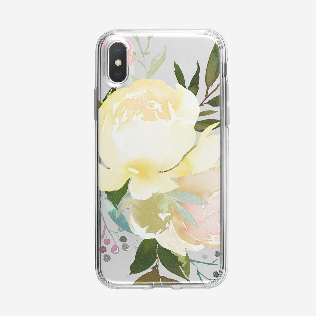 Bursting White Roses Clear iPhone Case From Tiny Quail